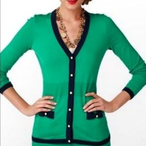 Lilly Pulitzer Green Navy Pearl Button Cardigan
